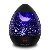 Sternenhimmel Projektor Eiförmige Kinderlampe mit Timer 8 Farbkombinationen 4 LED Birnen 2 Aufladungmethode 360 Grad Rotation Kindergeschenk mit Starry Stern Mond Perfekt für Geburtstag Kinder Zimmer