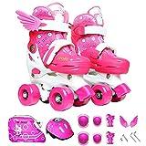 Sumeber Inline Skates Kinder mit verstellbarer Länge Kid Boys Girls Rollschuhe Outdoor / Indoor (Pink-Quad Roller, S (31-34))