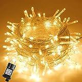 GlobaLink LED Lichterkette Außen, 10M 100LEDs Lichterkette Weihnachtsbeleuchtung IP44 mit Stecker 8 Modi & Memory-Funktion für innen und außen Weihnachten Hochzeit Party Garten Deko-Warmweiß