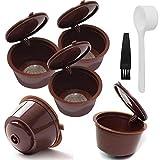 INTVN Ersatz Kapsel 5 Nachfüllbare Kapseln Wiederverwendbare Kaffee- Kapsel Kunststoff Edelstahl Filter Kaffeefilter für Dolce Gusto Kaffeekapsel mit Löffel und Pinsel