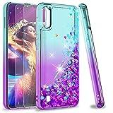 LeYi für Samsung Galaxy A10/M10 Hülle Glitzer Handyhülle mit Panzerglas Schutzfolie(2 Stück),Cover Schutzhülle für Case Handy Hüllen Türkis Lila