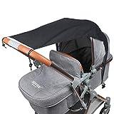 Fengzio Universal Sonnensegel für Kinderwagen/Babywanne UV Schutz Beschichtung 50+ Sonnenschutz für Babys Sonnensegel mit Tasche - Schwarz