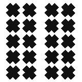 dPois Damen 20 Pcs Nippelabdeckung Einweg Kreuz Nipple Cover Aufkleber Satin Brustwarzenabdeckung Brustaufkleber Brust Nippel Sticker Accessories Schwarz One_Size