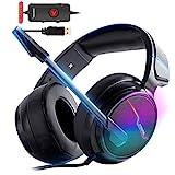 XIBERIA-V20 USB PS4 Headset für Host Verbindung, 7.1 Surround Sound PC Gaming Headset mit 1,95 Meter Kabel und geräuschunterdrückenden Mikrofonkopfhörern für Laptops, PC, Mac und Macbook mit RGB Licht
