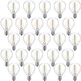 LED-Ersatzbirnen E12 Glasbirnen 25er Pack, 230 Volt G40 Terrassenbeleuchtung Warmweiß 0,6 Watt Partygarten Garten Hochzeitsgazebos Dekoration