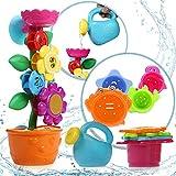 OleOletOy Baby Badespielzeug Set - Süße Blume Wassermühle und 4 STK. Stapelbecher - Kinder BPA Frei Wasserspielzeug mit Saugnapf für die Badewanne