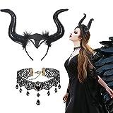 CHALA 2TLG Königin Hörner Kostüm Set Horn Kopfschmuck mit Gothic Spitze Halskette Hexenkostüm Schwarz Kopfbedeckung Teufel Haarschmuck Halloween Damen Kostüm für Cosplay Maskerade Karneval Fasching