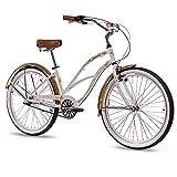 CHRISSON 26 Zoll Beachcruiser Sandy Weiss Gold mit 3 Gang Shimano Nexus Nabenschaltung, Damenfahrrad im Retro Look, Vintage Cruiser Bike