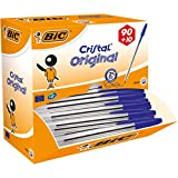 BIC Kugelschreiber Cristal Value Pack, 100 Kulis in Blau, Strichstärke 0,4 mm, Dokumentenecht, Liegen gut in der Hand