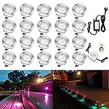 Terrassen Einbaustrahler - QACA 20er Set Boden Einbauleuchten Außen RGB LED Treppen Beleuchtung Ø45mm Bodeneinbaustrahler IP67 Wasserdicht Farbwechsel Boden Lampe mit Transformator