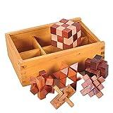 Chonor 6er Set 3D Puzzle Brainteaser Denkspiel in Holzkiste, Holzspielzeug Knobelspiel Geduldspiel Intelligenz Pädagigisches Gehirntraining Spielzeug Logikspiel aus Holz für Kinder und Erwachsene