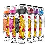 Opard Trinkflasche mit Früchtebehälter 946ml Wasserflasche mit fruchteinsatz Infuser Sports Water Bottle Tritan BPA-Frei Flasche mit Rezept und Pinsel