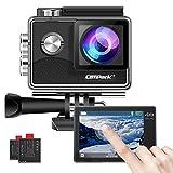 Campark X15 4K Action Cam WiFi Touchscreen EIS Unterwasserkamera 30m Helmkamera 16MP mit 170 ° Ultra-Weitwinkel und Viel Zubehör Kompatibel mit GoPro
