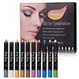 Lidschatten Palette Bunt, Lidschatten Glitzer, Lidschatten Stift, lidschatten Palette, Glitzer Wasserfest Long-Lasting Lidschatten Palette Eyeshadow Pencil Highlight Kosmetischer Makeup,10 Farben