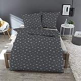 Dormisette Flanellbettwäsche Schneeflocken 6360 anthrazit 1 Bettbezug 135x200 cm + 1 Kissenbezug 80x80 cm