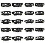 100 Stück Perücken Clips U Form Metall Haarteil Clips 6 Zähne Kämme Clips Schwarz Perücke Tressenclips aus Edelstahl, für DIY-Haarverlängerungen (3.2x1.6cm & 2.8x1.4cm)