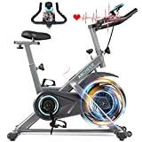 ANCHEER Heimtrainer, Indoor Cycling Bike Fitnessbike Mit Herzfrequenzmonitor & LCD Monitor, Bequeme Sitzkissen, Schwere Schwungrad Upgrade Version, Multi-Grips