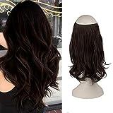FESHFEN Halo Echthaar Extensions, Haarteile Echthaar Halo Haarverlängerungen Haar extension, Synthetische Secret Hair Extension, 36 cm 125g