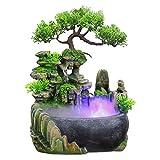 Zimmerbrunnen Indoor Brunnen Wasserfall Tischbrunnen Dekoration Wasserspiel Mit Farbwechsel Led Beleuchtung Zen Meditation Wasserfall Fur Büro Schlafzimmer Yoga Meditation (01)