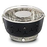 eSituro Holzkohlegrill BBQ Grill rauchfreier Barbecue beweglicher Grill Tischgrill mit Belüftung, inkl.Tragetasche, für Zuhause oder Unterwegs, Schwarz