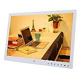 VBESTLIFE 15 Zoll Digitaler Fotorahmen,USB 2.0 1280 * 800 HD Touchscreen Digital Bilderrahmen mit Wecker/Kalender Movie Player,Geschenk für Familien und Freunde.(Weiß)