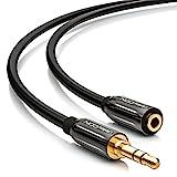 deleyCON 0,5m Stereo Audio Klinken Verlängerungskabel - 3,5mm Klinken Buchse zu 3,5mm Klinken Stecker - AUX Kabel Metallstecker - Schwarz