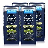 NIVEA Men 4er Pack Duschgel für Körper, Gesicht & Haar, 4 x 250 ml Flasche, Energy