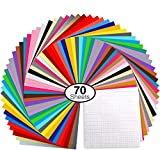 Vinylfolien,Ohuhu 70 Satz Plotterfolie mit permanentem Klebefolien, 60 Vinylfolien 12' x 12' 10 Transferband-Folien, 30 verschiedene Farbfolien für Cricut