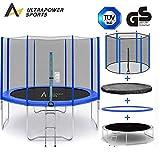 ULTRAPOWER SPORTS Fitness Trampolin/Gartentrampolin 244 cm 8ft mit Sicherheitsnetz Innennetz und ideal für Kinder Blau