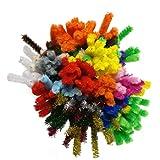 Bastelbär Pfeifenputzer bunt zum Basteln - 200 Pfeiffenreiniger Bastel Chenilledraht inkl. 5 Glitzerfarben