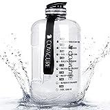 COVACURE Trinkflasche Sport - 3.78L Wasserflasche, Groß Sportflasche, BPA Frei, Auslaufsicher, für Fitness, Gym, Heim, Büro, Outdoor (Transparent)