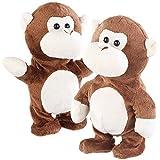 Playtastic Labertier: 2er-Set sprechende Plüsch-Affen mit Mikrofon, sprechen nach, 22 cm (Kuscheltier)
