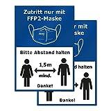 P034 2er Set Hinweis-Aufkleber FFP2-Maskenpflicht, Abstand halten, Corona Aufkleber, DIN A4 (21x29,7cm) (V2 Blau)