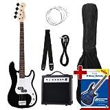 Rocktile Groover's Pack PB E-Bass Komplettset Schwarz (Verstärker, Tasche, Kabel, Gurt, Ersatzsaiten und Schule mit DVD)