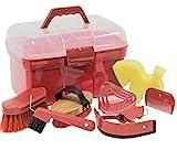 Putzbox Putzkiste befüllt mit Zubehör für Pferde Farbe: rot | Putzkasten | Putzkoffer Putzbox mit Inhalt