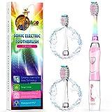 Elektrische Zahnbürste Kinder Ultraschall Batterie kinderzahnbürste mit Timer mit Schalltechnologie für Jungen und Mädchen (Rosa)