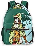 Schulrucksack für Teenager Jugend Kinder Männer Frauen Wasserbeständiger Tagesrucksack Fit 14 Zoll Laptop Schulranzen Rucksack Lässiger Reiserucksack Robin Hood Stehende Bogenpfeile