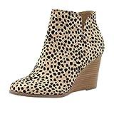 YWLINK Damen Wedge Stiefeletten Der Frauen Mode Leopard Stiefel Herbst FrüHling ReißVerschluss Schuhe MäDchen Wedges Ankle Zipper Short Boots(Gelb,42 EU)