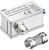 erenLine 1 Stück SAT Dämpfungsregler/Dämpfungsglied 0-20 dB; regelbar; mit Aufdreh-Adapter für Anschluss ohne Zwischenkabel