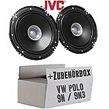 Lautsprecher Boxen JVC CS-J610X - 16cm Auto Einbauzubehör 300Watt Koaxe KFZ PKW Paar - Einbauset für VW Polo 9N 9N3 Front - JUST SOUND best choice for caraudio