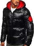 BOLF Herren Winterjacke Steppjacke Stehkragen Kapuze Sport Casual Style Reißverschluss Warm Casual Style X-Feel 99311 Schwarz XXL [4D4]