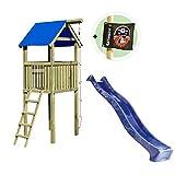 Gartenpirat Spielturm Alto mit Rutsche und Kletterseil 118 x 118 x 350 cm Holz KDI