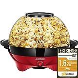 Aicook™ Popcornmaschine für Zuhause, Popcorn Maker Machine mit Zucker & Öl, Abnehmbare Heizfläche, Antihaftbeschichtung, 5L Popcorn Popper, Großer Deckel als Servierschale, Platzsparende Lagerung