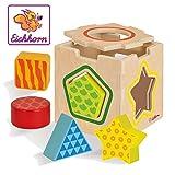 Eichhorn - Steckbox - 7-teiliges Steckwürfel Set aus Birkenholz, mit 5 Bausteinen in unterschiedlichen Formen, Größe 12x12x12cm, für Kinder ab einem Jahr