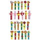 small foot 7760 Wäscheklammer-Set 'Tiere' aus buntem Holz, Spielzeug für Kinder, 24 Einheiten, ab 3 Jahren
