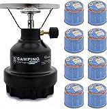 Elfmonkey Campingkocher E190 | Set aus Metall-Gaskocher & Gas | ideal für unterwegs: Modell: Schwarz + 8X Gaskartusche