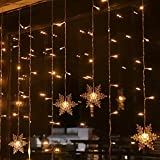94 LED Schneeflocke Lichterketten, Lichtervorhang Lichter Weihnachtsbeleuchtung mit 8 Flimmer-Modi und Timer für Hochzeit, Weihnachten, Geburtstagsfeiern, DIY Haus Mantel Dekoration (Warmweiß)
