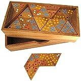 LOGOPLAY Tridomino - Triomino - Dreieck-Domino - Legespiel - Gesellschaftsspiel aus Holz mit farbigen Punkten