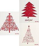 Schwedisches Geschirrtuch – Set mit 3 Weihnachtsbäumen in Rot