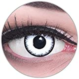 Funnylens Farbige Kontaktlinsen Lunatic + Behälter weiß weich ohne Stärke 2er Pack - Halloween Karneval Fasching Fasnacht Verkleidung Halloweenkostüm